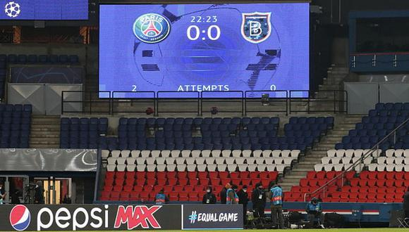 El partido entre PSG e Istanbul BB iba en el momento de la suspensión, en el minuto 22, con empate a cero. (Getty)