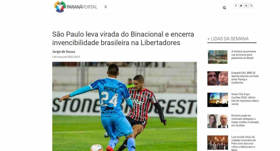 Binacional vs. Sao Paulo: prensa brasileña