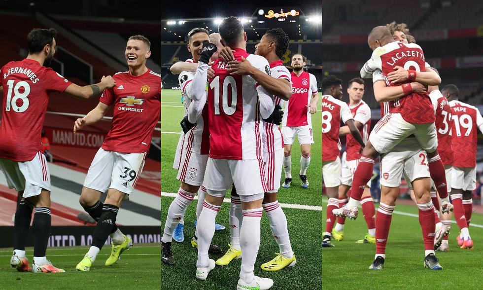 Manchester United, Ajax y Arsenal son los principales candidatos para ganar la Europa League. (Fotos: Agencias)