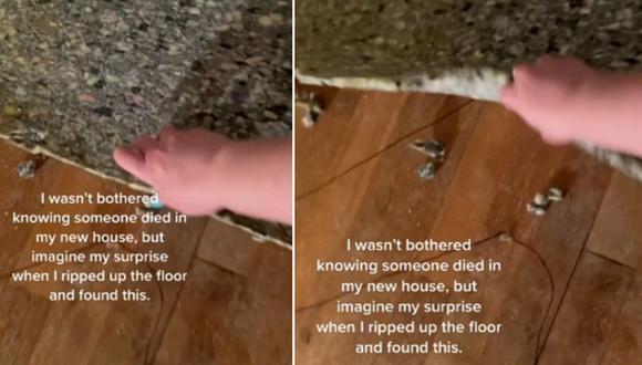 Decidió mudarse a una casa donde alguien murió y encontró algo insólito debajo de la alfombra. (Foto: @dontbeanashhole / TikTok)