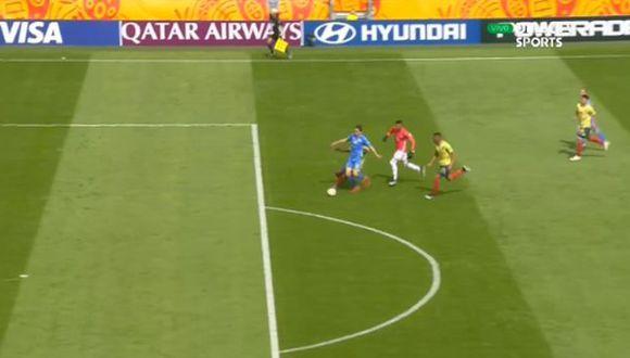 Danylo Sikan anota el 1-0 contra Colombia por cuartos del Mundial Sub 20. (DirecTV)