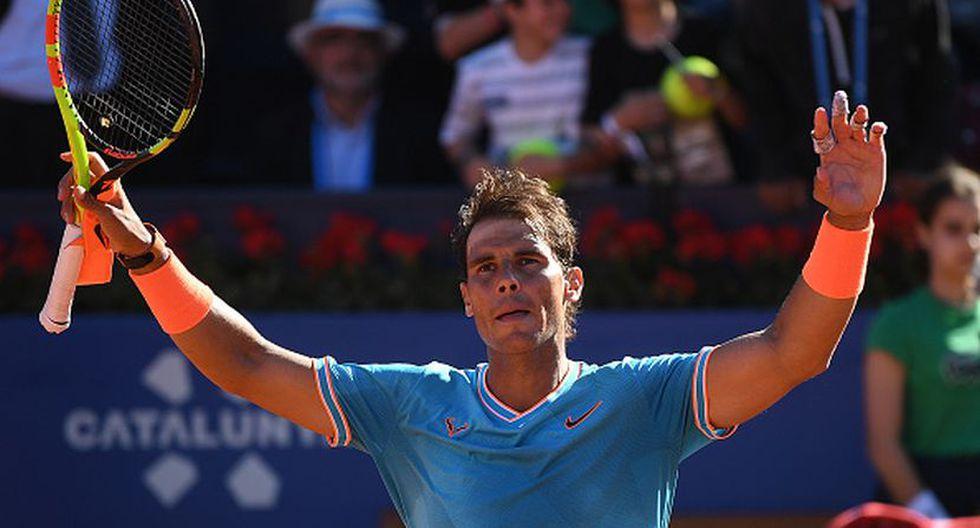 Rafael Nadal celebró su victoria en su debut en el torneo Conde de Godó. (Getty Images)