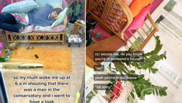 Una mujer publicó un video viral de su reacción al ver que un extraño ingresó a su casa y se quedó dormido en el sofá. (Foto: @tashasayshello / TikTok)