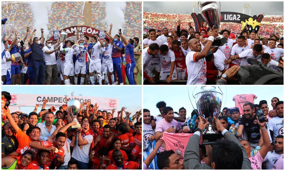 Los últimos campeones de la Liga 2. (Fotos: Agencias)