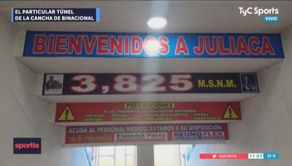 TyC se mostró sorprendido por las frases que se encuentran en el túnel del Estadio Guillermo Briceño Rosamedina de Juliaca. (Foto: Captura)