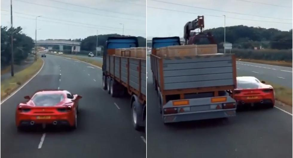 Avezado conductor pasó por debajo de un camión con su auto y su maniobra es viral en redes. (Foto: Captura/TikTok)