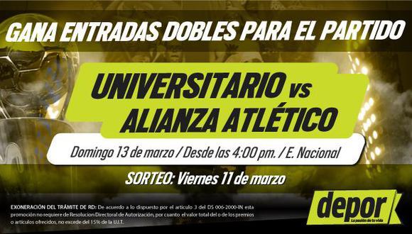 Universitario vs. Alianza Atlético: gana entradas dobles para el partido