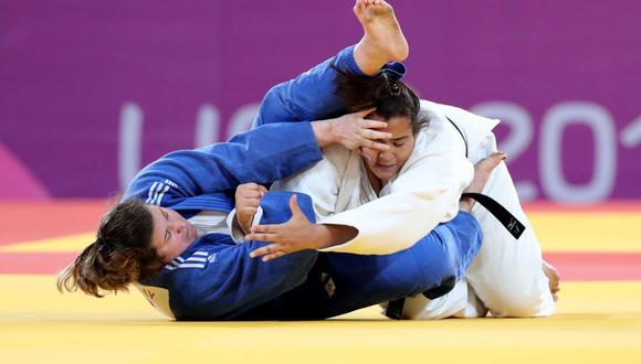 La judoca peruana Yuliana Bolívar durante su participación en Lima 2019, en donde se colgó la medalla de bronce. (Foto: GEC)