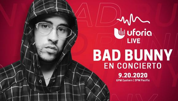 Este domingo 20 de septiembres podrás ver en vivo AQUÍ el concierto gratuito de Bad Bunny (Foto: Uforia)