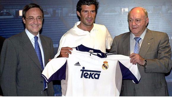 Luis Figo llegó al Real Madrid desde el Barcelona de la mano de Florentino Pérez. (Internet)