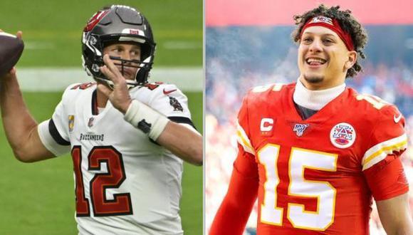 Tom Brady y Patrick Mahomes, un duelo aparte en el Super Bowl. (Foto: Agencias)