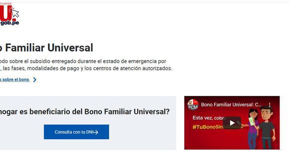 BFU, la nueva plataforma del Midis para el Segundo Bono Universal.