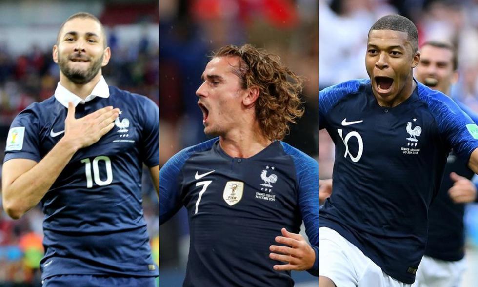 Benzema, Griezmann y Mbappé formarían el tridente ofensivo de Francia en la Eurocopa 2021. (Foto: Agencias)