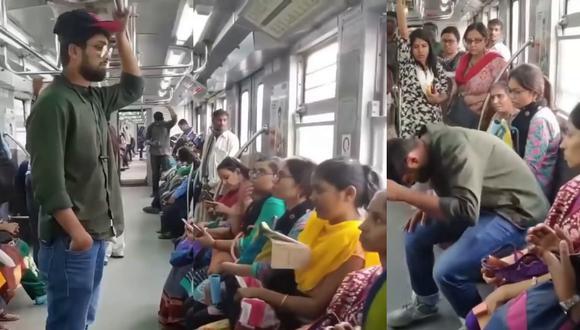 Un video viral muestra la táctica de un joven para hacerse siempre de un asiento en el metro. | Crédito: @tube.indian / Instagram