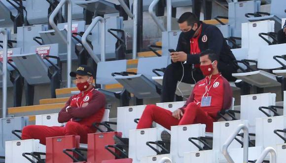 Jonathan Dos Santos y Federico Alonso en el estadio San Marcos. (Foto: @LigaFutProf)