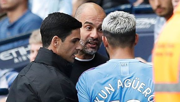 Pep Guardiola y Sergio Agüero