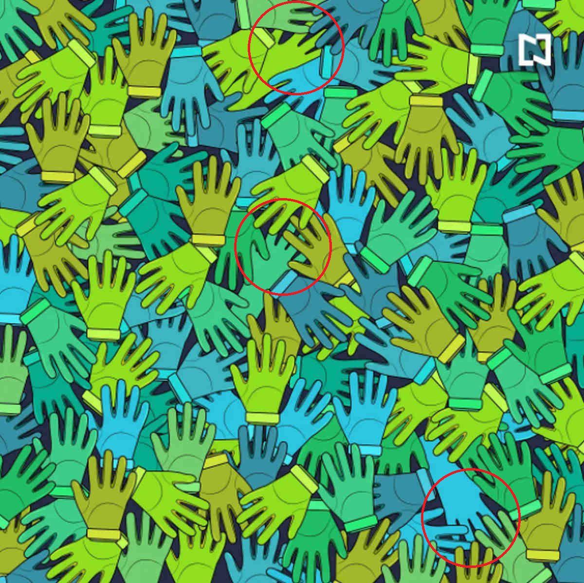 Solución: aquí están los tres guantes de lavar de la imagen viral. (Televisa)