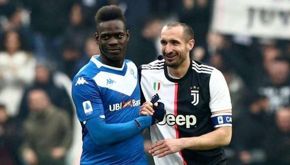 Mario Balotelli y Giorgio Chiellini se han enfrentado esta temporada en la Serie A. (Foto: RAI)
