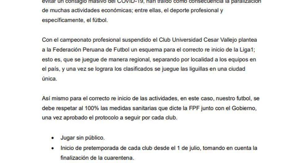 César Vallejo propone jugar Liga 1 por regiones.