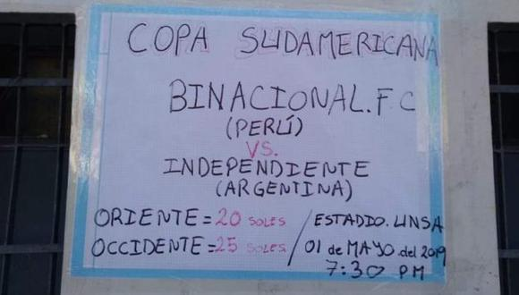 Así anunció Binacional su venta de entradas. (Captura: @manoloutd98)
