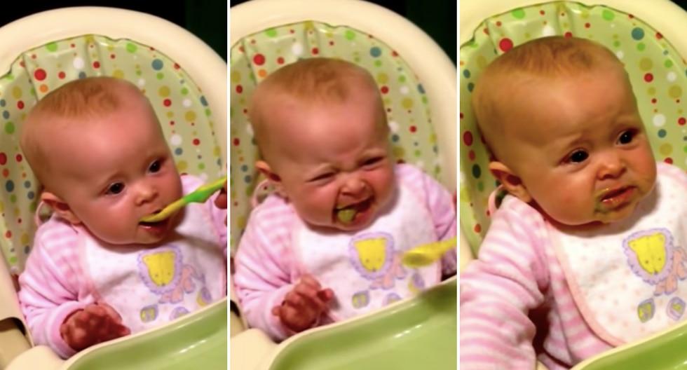 Bebita dice sus primeras palabras para que ya no le den de comer más verduras