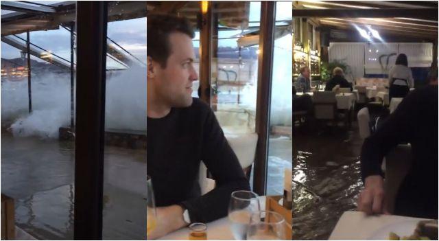 Cena de pareja se arruina por inundación en famoso restaurante. (YouTube)