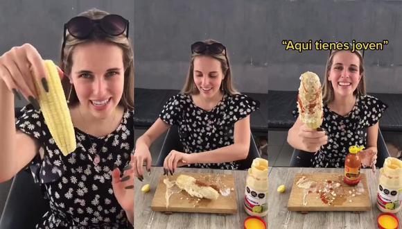 Un video viral muestra el peculiar modo que tiene una canadiense para los tradicionales elotes preparados, manjar de la gastronomía de México. | Crédito: @sonrixs_ / TikTok