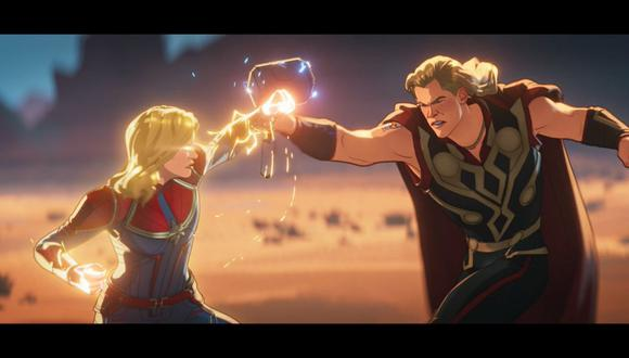 """Capitana Marvel vs. Thor: """"What If...?"""" explica cuál de los dos es el más fuerte. (Foto: Disney Plus)"""