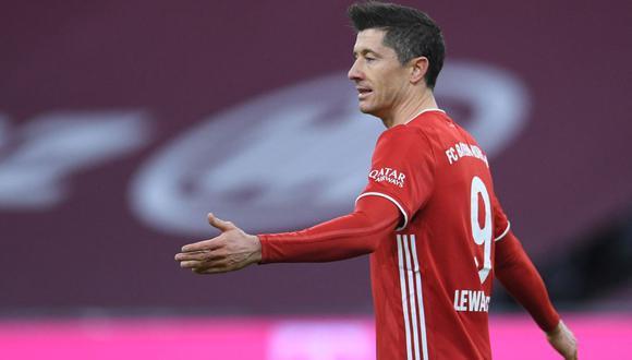 Robert Lewandowski se perderá los cuartos de Champions League con Bayern Múnich. (Foto: AFP)