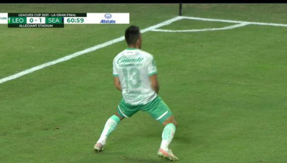 Ángel Mena anota el 1-1 en León vs. Seattle Sounders por final de Leagues Cup. (Captura: TUDN)
