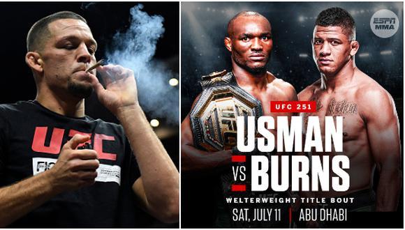 Nate Díaz criticó el evento estelar del UFC 251 entre Usman y Burns en el 'Fight Island'. (Getty Images/ESPN)
