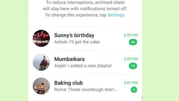 Esta opción permite mantener los chats archivados y que no estén en la lista principal de conversaciones. (Foto: @whatsapp / Instagram)