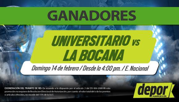 Universitario de Deportes vs. La Bocana: lista de ganadores de entradas dobles
