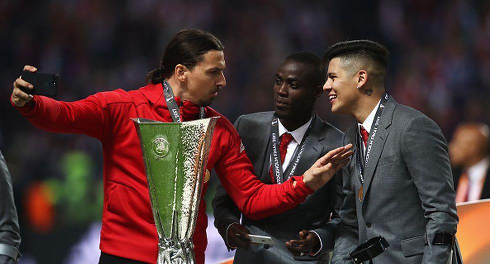 Zlatan Ibrahimovic y Marcos Rojo ganaron la Europa League en Manchester United. (Foto: Getty Images)
