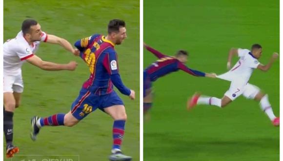 Lionel Messi imitó a Mbappé: argentino escapó de un defensa que intentó jalarle la camiseta | VIDEO