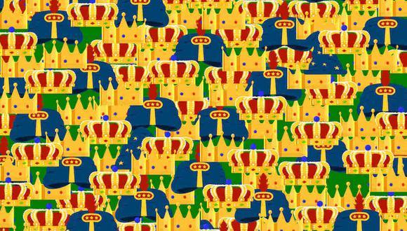 Entre las muchas coronas que ves en la imagen, hay 2 sombreros de mago. Debes averiguar dónde están. (Foto: Noticieros Televisa)