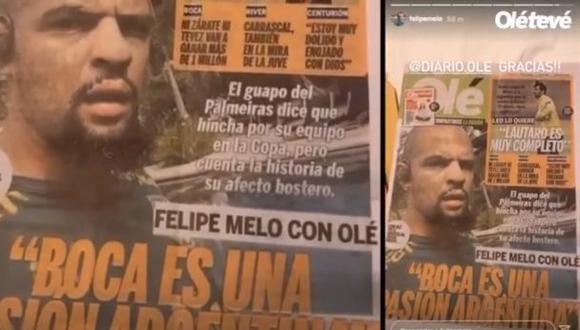 La publicación de Felipe Melo a días del vital duelo por Copa Libertadores. (Captura/Instagram)