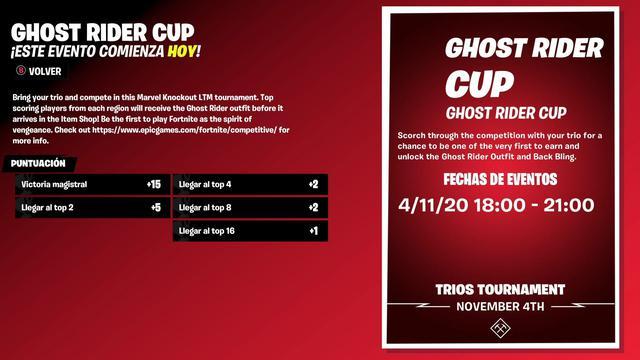 Normas del evento dedicado a Ghost Rider (Epic Games)
