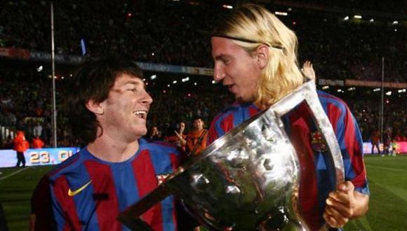 Maxi López, en compañía de Lionel Messi, logró ganar la UEFA Champions League 2005-06 con el FC Barcelona. (Foto: Getty)