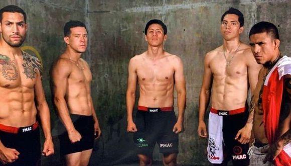 De izquierda a derecha: Javier Ames, Kevin Moreyra, Raúl Ramsés, Jesús Pinedo y Jhonatan Cieza, los cinco peruanos que pelearán ante rivales brasileños en el Inka FC 33. (José Rojas/GEC)