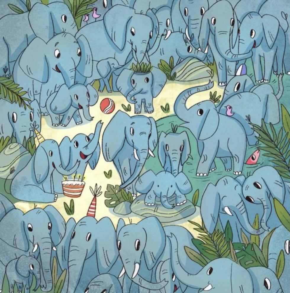 Nuevo Reto Viral que te pide ubicar en solo 5 segundos al rinoceronte oculto entre los elefantes. (Fotos: Facebook)