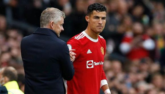 Cristiano Ronaldo forma parte del grupo de jugadores de Manchester United que no están contentos con Ole Gunnar Solskjaer. (Foto: Reuters)