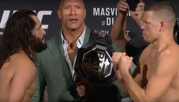 Así fue el careo entre Jorge Masvidal y Nate Diaz previo al UFC 244. (UFC)