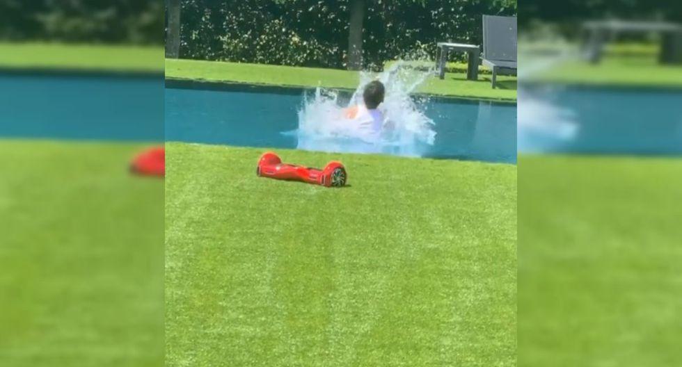 El video acabó con una 'locura' de Max, quien se subió sobre su monopatín y luego se lanzó hacia su piscina. | Foto: @jlo