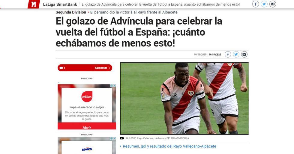 Los elogios de la prensa española para Advincula por su golazo