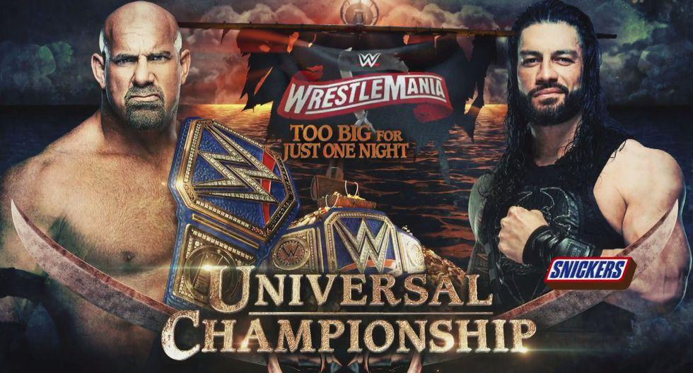 Goldberg (c) vs. luchador por confirmar por el título universal. Roman Reigns se retiró por temor a contagiarse del coronavirus. (Foto: WWE)