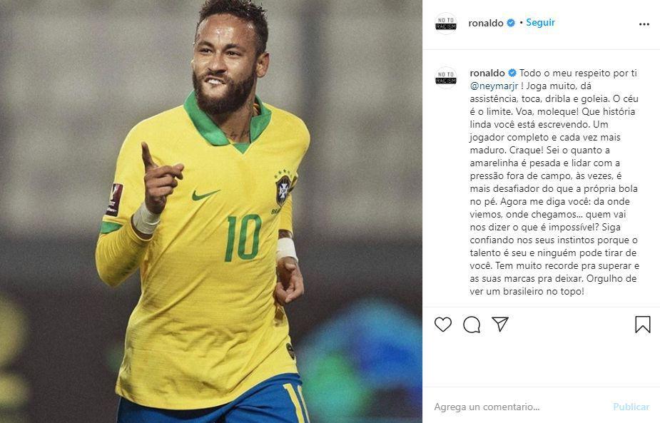 Emotivo mensaje de Ronaldo a Neymar.