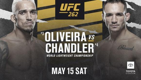 Charles Oliveira y Michael Chandler pelearán por el título de peso ligero en el UFC 262. (UFC)