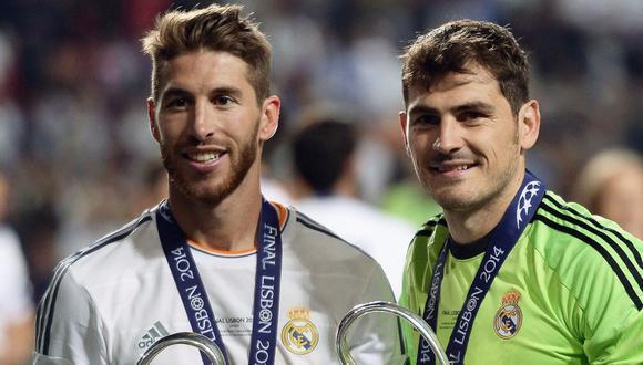 Sergio Ramos e Iker Casillas jugaron juntos en el Real Madrid entre 2005 y 2015. (Foto: AFP)