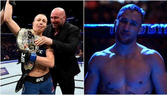 Justin Gaethje se emocionó con el triunfo de Rose Namajunas en el UFC 217. (Getty Images)